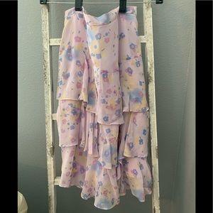 Banana Republic silk floral tiered skirt